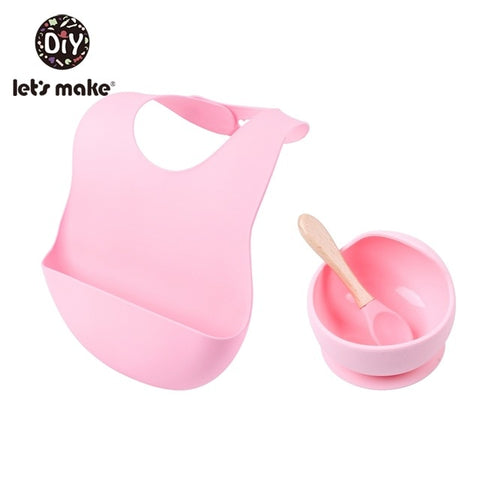 Silicone Baby Feeding Set Bib, Bowl, and Spoon