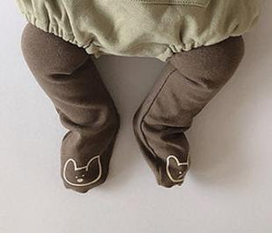 Animal Trousers with Built in Socks, White and Brown