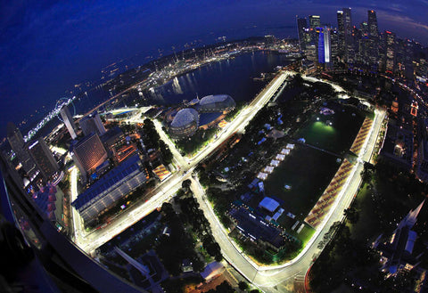 Night view of the Singapore Grand Prix Circuit Wallpaper Mural | pictureThisprints