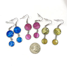 Load image into Gallery viewer, one of a kind, askew view photo drop dangle earrings