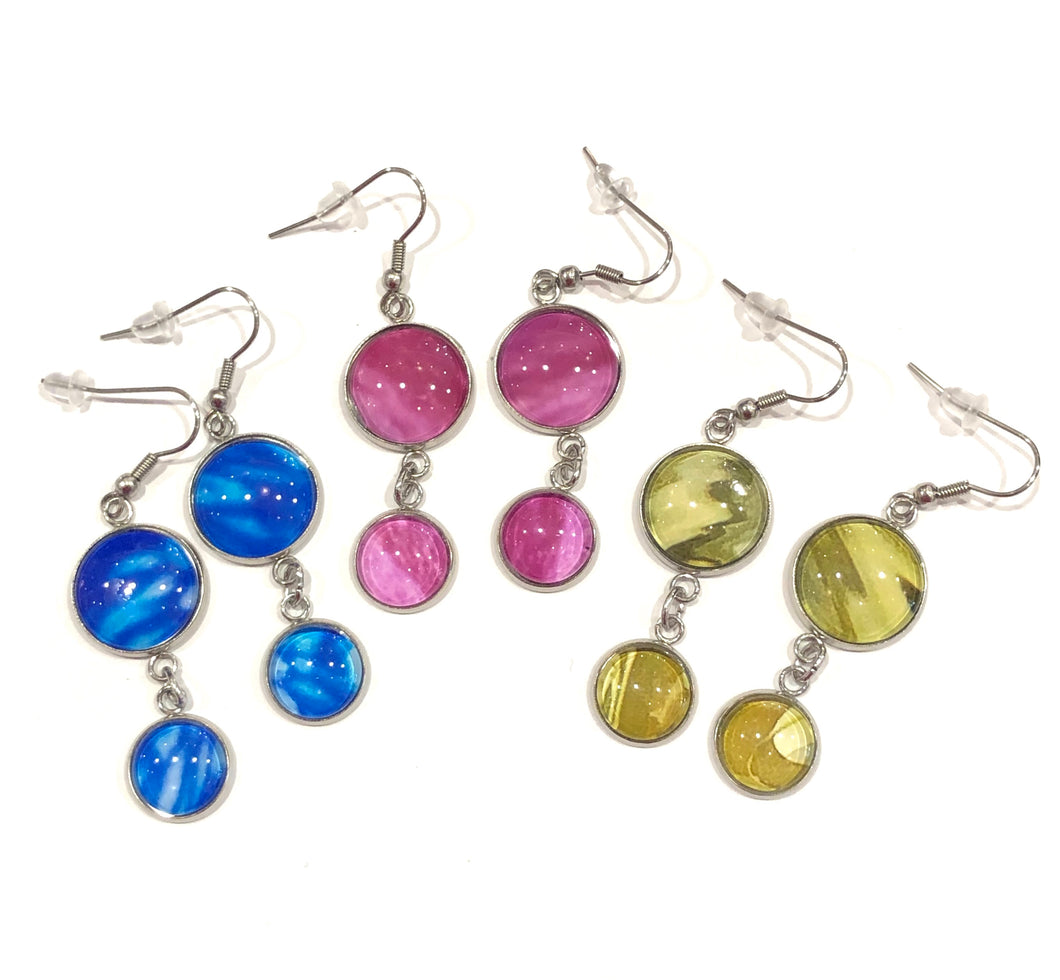 one of a kind, askew view photo drop dangle earrings