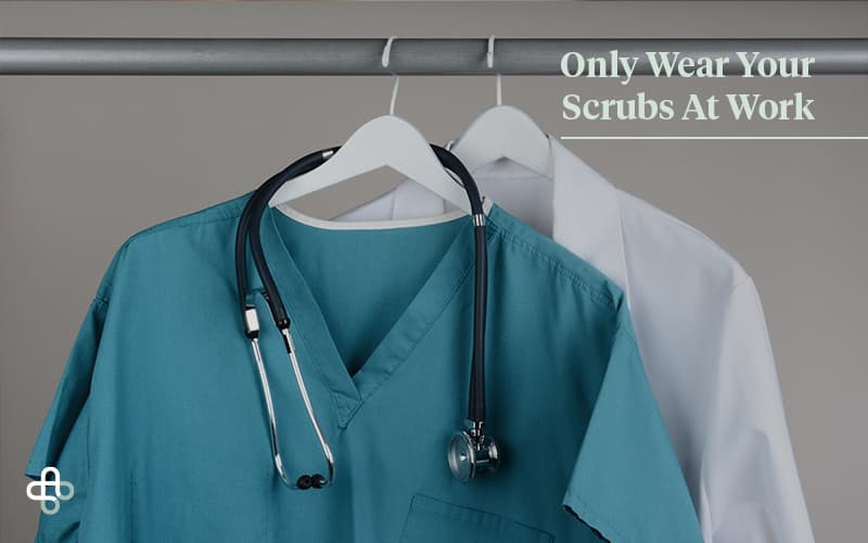 medical clothes hanging on rack