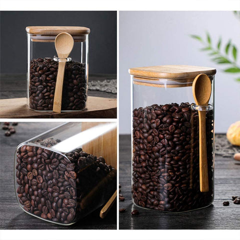 Tzerotone Glass Jars Set,Upgrade Spice Jars with Wood Airtight Lids and Labels, 6oz 12 Piece Small Food Storage Containers for Home Kitchen, Tea, Herbs, Sugar, Salt, Coffee, Flour, Herbs, Grains