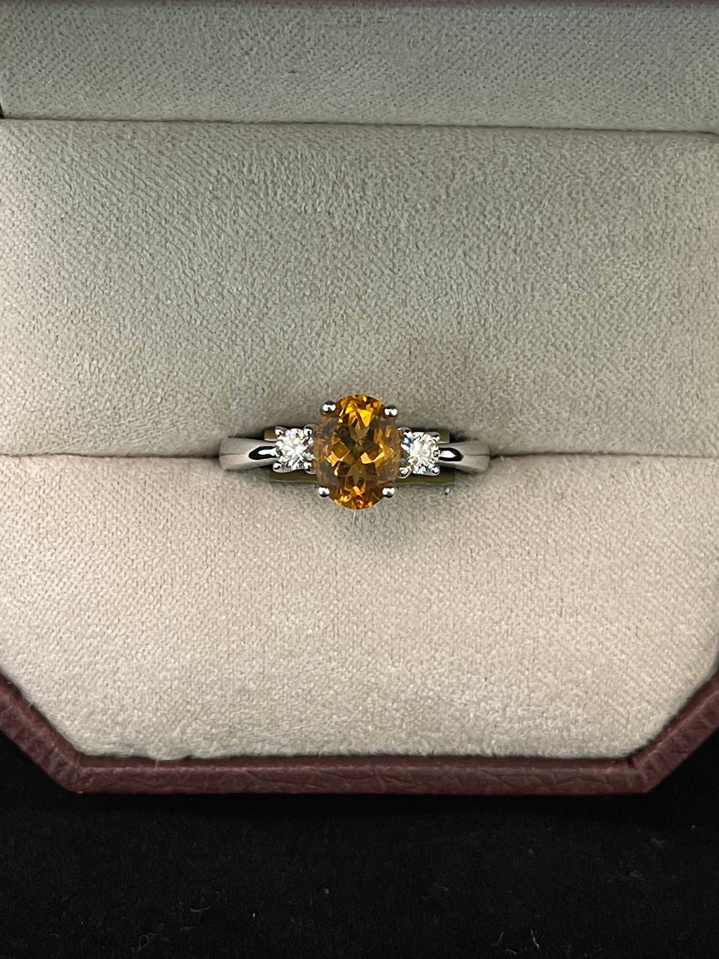 Oval Citrine w/ Diamond Accents Ring