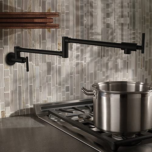 PHASAT Kitchen Taps Wall Mounted Pot Filler Solid Brass Folds Join Swivel Arm Extensible Length Oil Rubbed Bronze CCP15001RB Cold Only