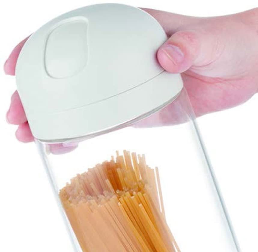 Glass Spaghetti Pasta Canister with portion control dispenser - Keep Food Fresh for pasta lovers