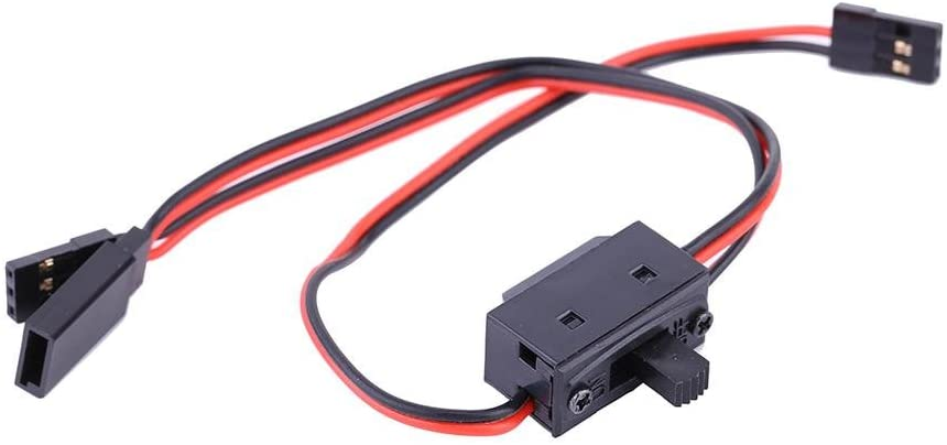 Dilwe RC Power Switch, 3 Way Switch Receiver Battery On/Off Switch With JR Lead Connector & Charge Lead for Futaba