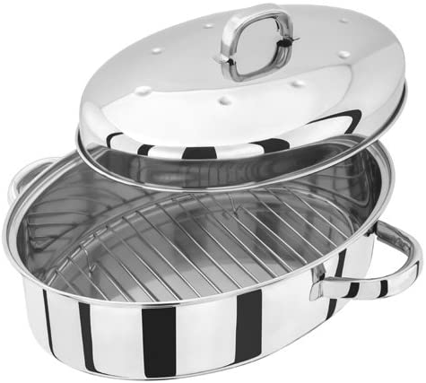Judge TC120 Stainless Steel High Roaster with Rack and Self Basting Lid 32cm x 22cm x 18.5cm Oven Safe Dishwasher Safe Gift Box, 25 Year Guarantee