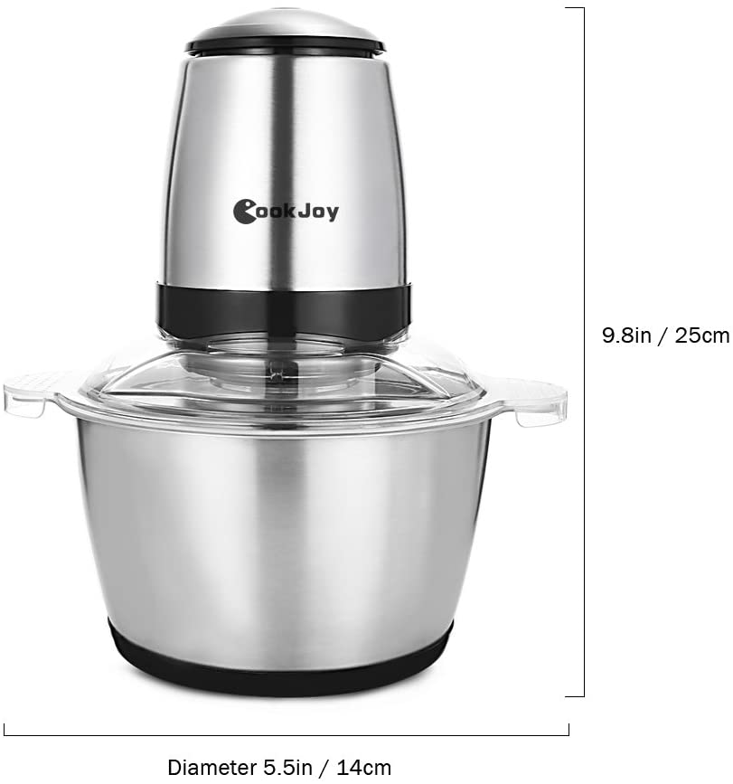 CookJoy Chopper, 2L Electric Food Processor Meat Grinder, Blender and Mincer, Multipurpose Food Chopper with 2 bi-Level Rotary Blades,304 FDA Stainless Steel