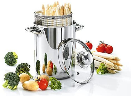 Krüger SPA03 Asparagus Pot with Basket Insert 16 cm 4.2 L Stainless Steel