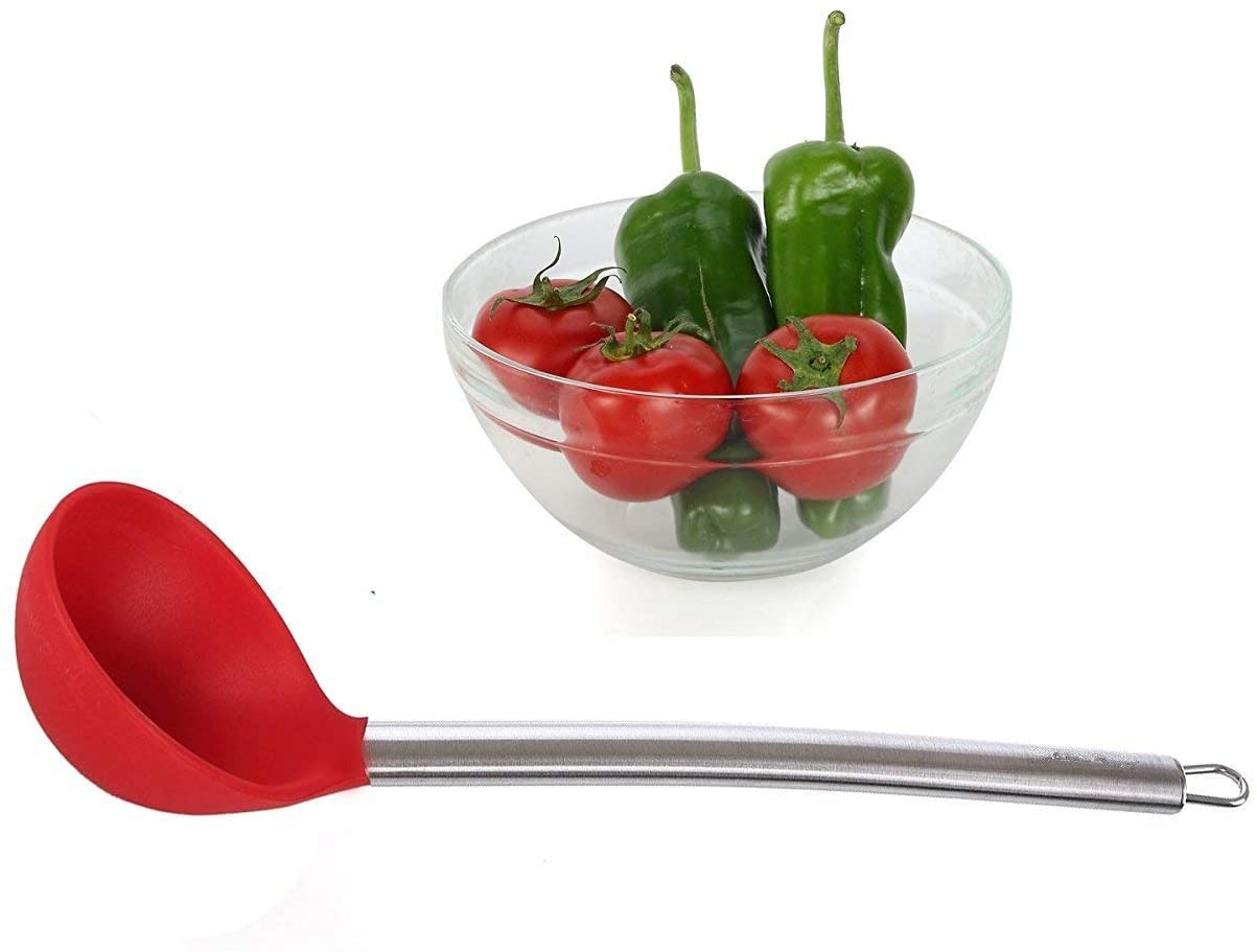 iNeibo Kitchen Silicone Ladle - with Strong Silicone Covering Head and Stay-Cool Stainless Steel Handle (Ladle)