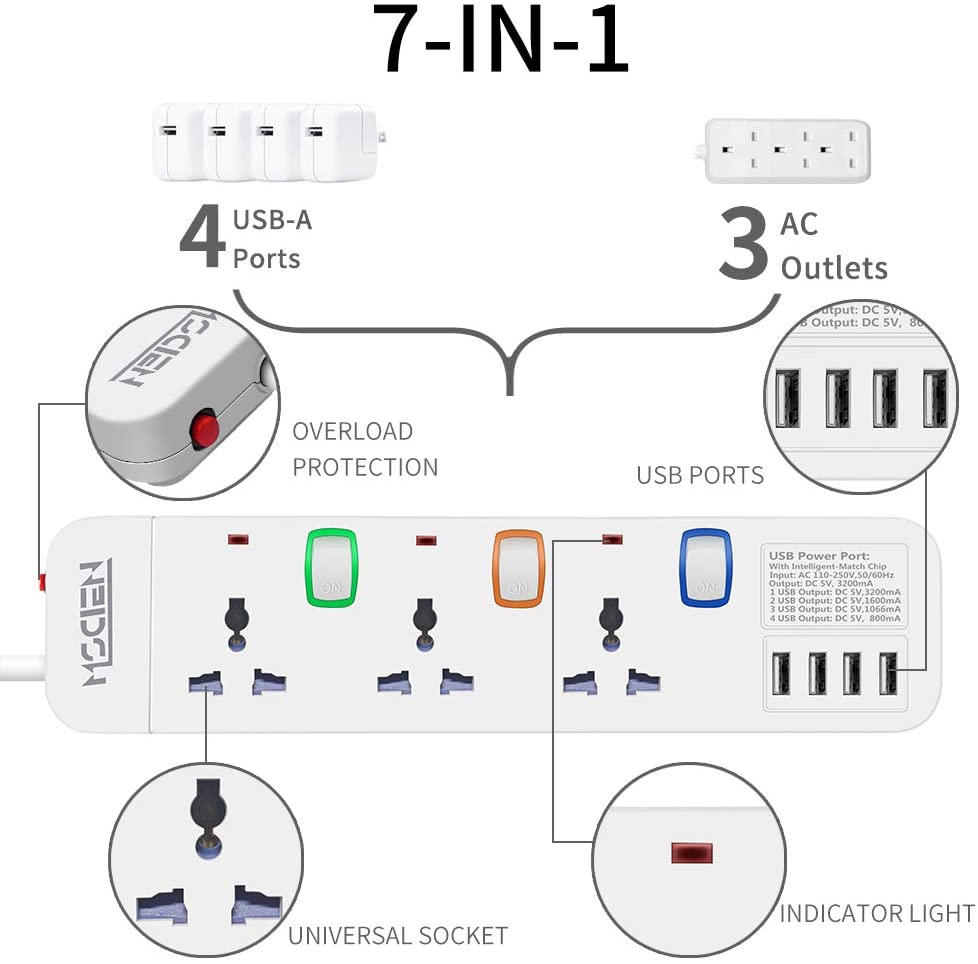 Travel Extension lead with USB to EU 3 Way Individually Switched Socket 4 USB Ports Surge Protection Power Strip 1.8 Metre Extension Cord 3250W/13A