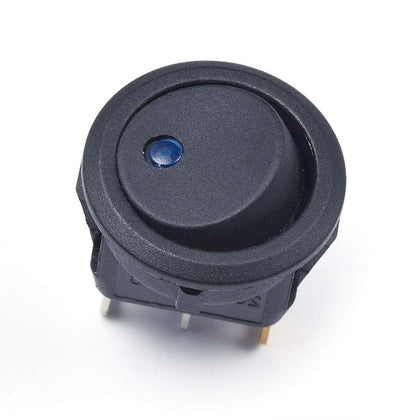 Rocker Switch Round Rocker Toggle Switch On Off Press Button 12V 20A Car Truck Rocker Switch Panel with LED Black