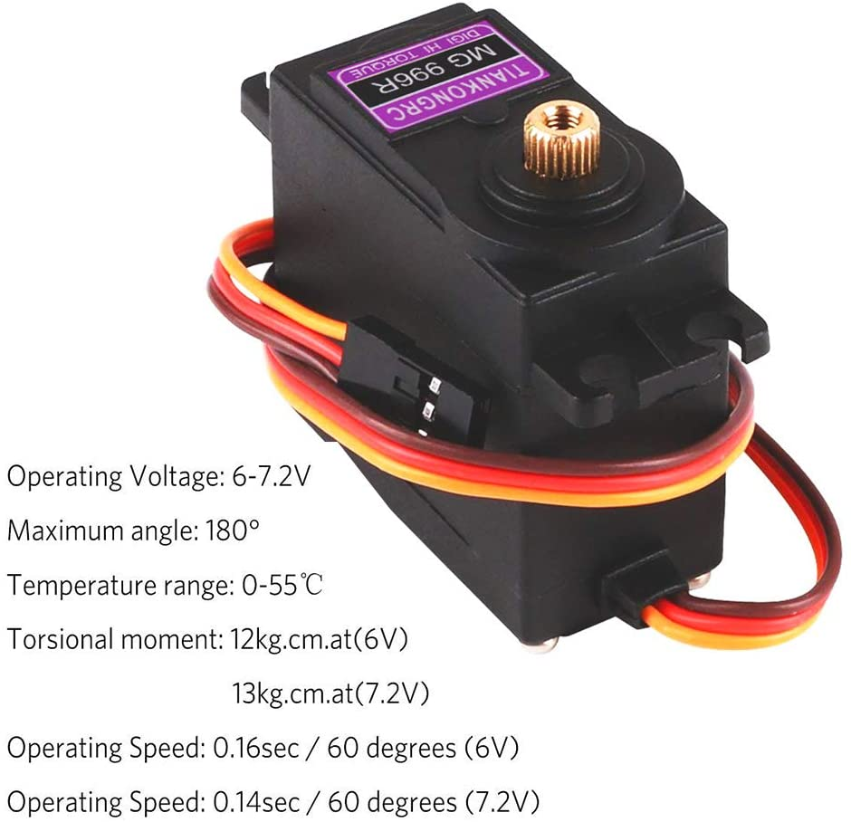 Innovateking-EU 4Pcs MG996R Metal Gear Torque Digital Servo Motor for Smart Car Robot Boat RC Helicopter