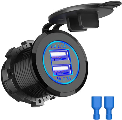 Thlevel Dual USB Charger Socket, Dual 5V/4.2A USB Car Charger Power Outlet with switch for 12V/24V Car, Boats and Marine, Motorcycle, Truck, SUV, UTV (1x USB Socket Blue)