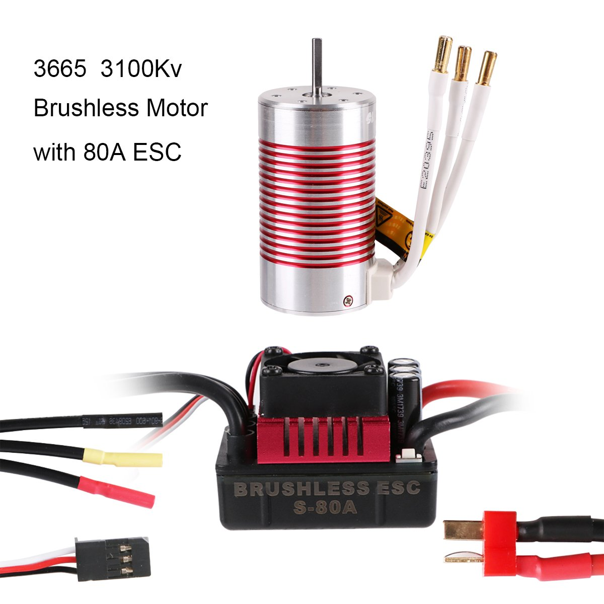 Crazepony-UK 3665 3100KV 4P Brushless Motor with 80A ESC ( Electric Speed Controller ) Waterproof for 1/10 1/8 RC Car ( Red )
