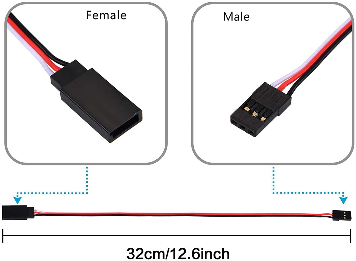 10pcs Servo Extension Cable Lead Wire 320mm 12.59inch 3 Pin Cord JR Male Head and Futaba Female Head for RC Plane