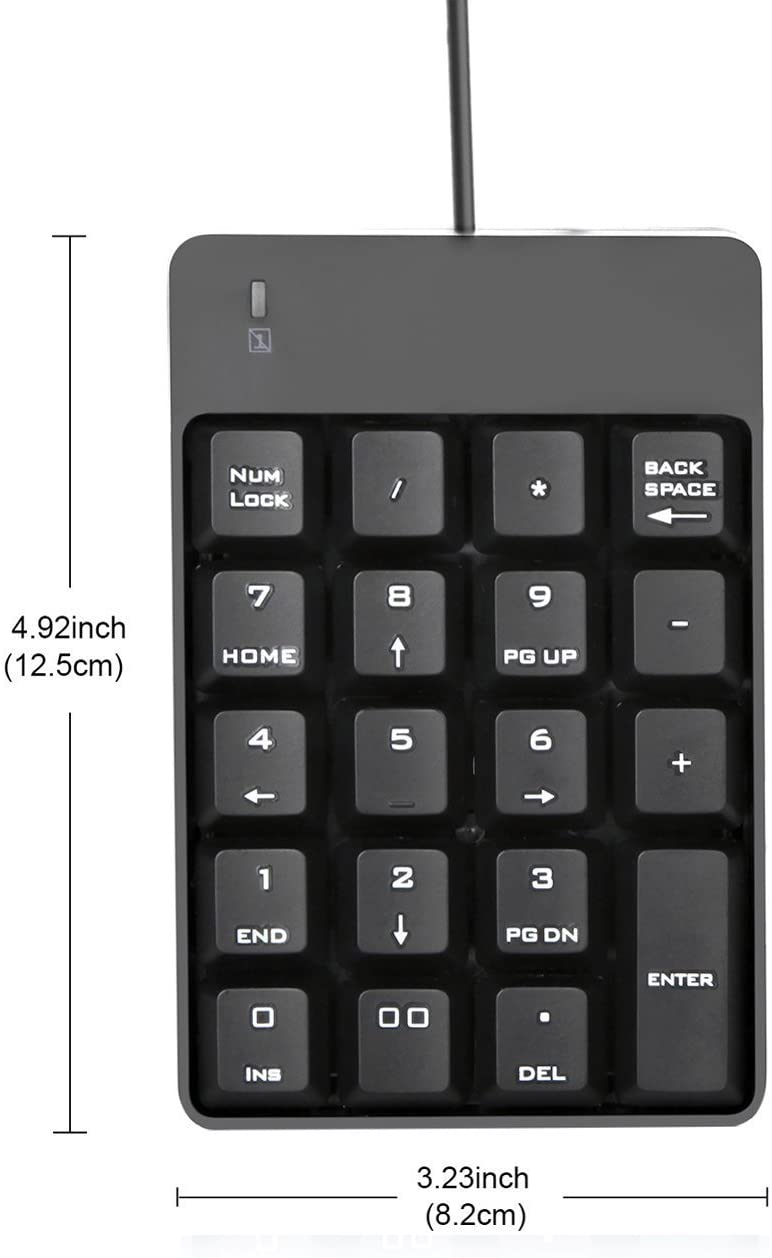 USB Numeric Keypad, Jelly Comb 19 Key Wired Mini Number Keyboard for Laptop Desktop Computer PC - Black