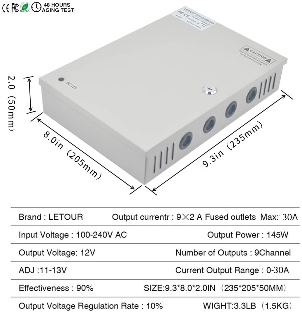 LETOUR Security Camera Power Box 18 Channel Port Output DC 12V 30Amp 360W Raintight CCTV Power Supply Box with PTC Fuse for LED Strip LED Display