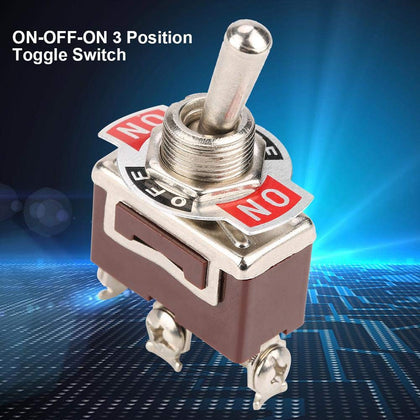 ON-OFF-ON Toggle Switch, 3 Pin 3 Position Mini Toggle Switch with 12mm Screw Mounting Hole 15A 250VAC