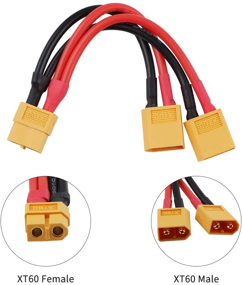 XT60 Parallel Battery Connector Cable Extension Y Splitter for DJI Phantom RC Mode Helicopter Quadcopter