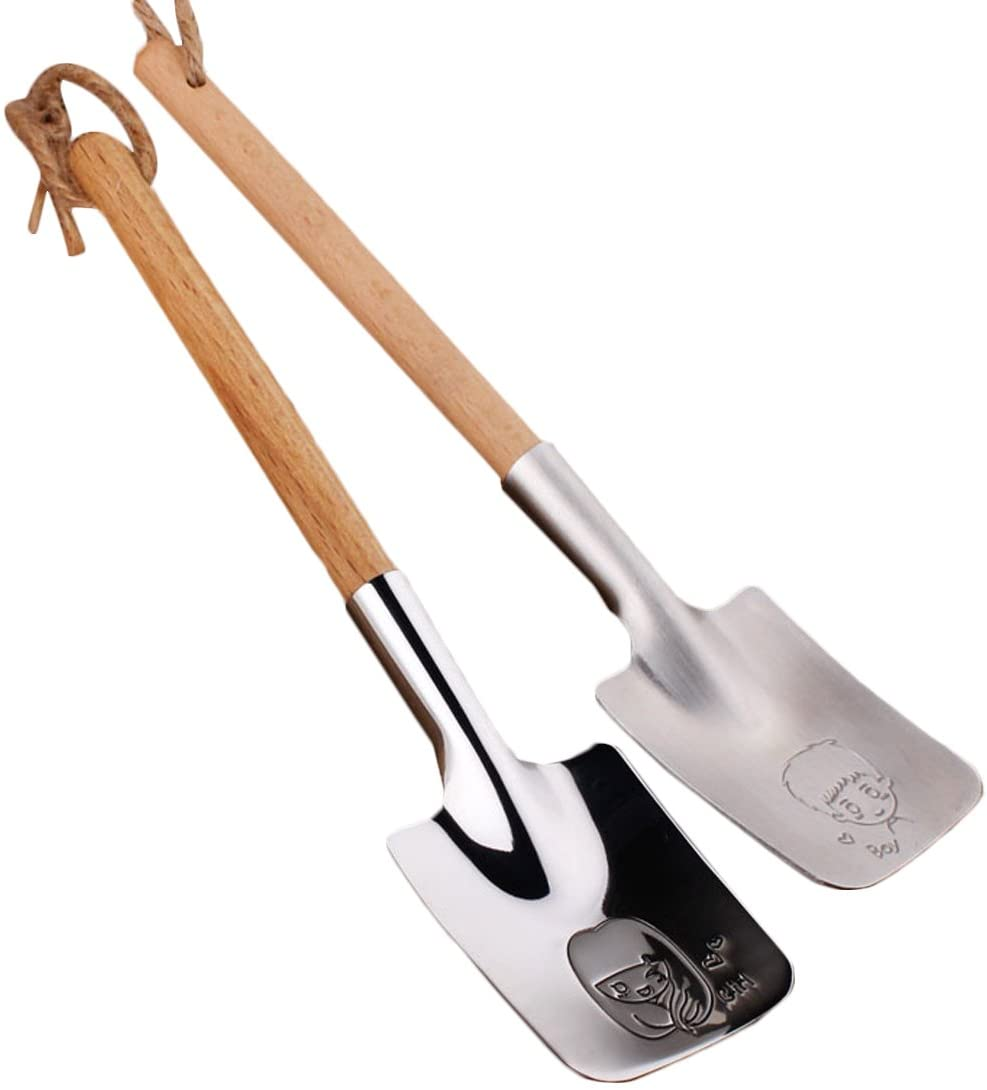 kilofly Stainless Steel Shovel Wooden Handle Valentines Day Love Spoon, Set of 2