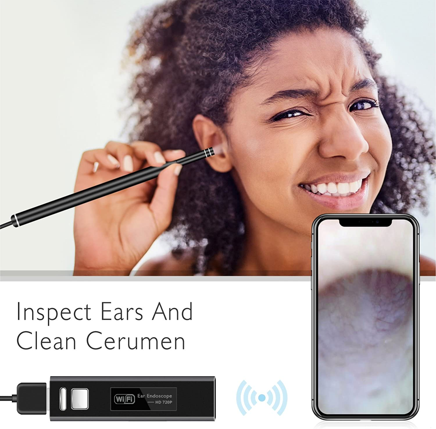 Ear Endoscope WiFi, HEYSTOP Wireless Digital Ear Cleaning Waterproof Otoscope Inspection Camera Portable HD Borescope with Earpick for IOS and Android Smartphones Windows MAC