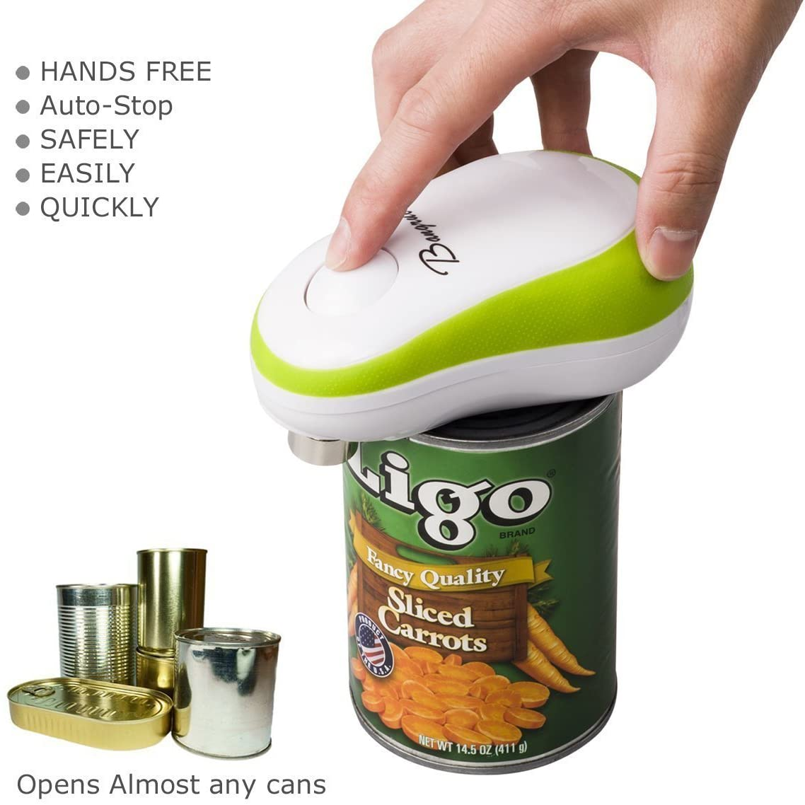 Kitchen Automatic Safety Cordless One Tin Touch Electric Can Opener&2019 Updated (Bangrui) Intellectual Electric Can Opener:Smooth Edge,Stop Automatically,a Good Helper in Cooking!(Green)