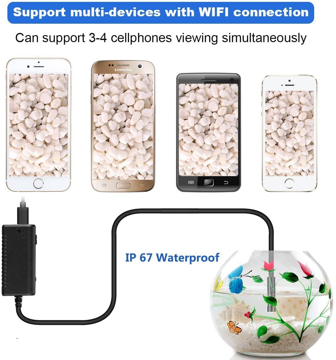 Eggsnow Wifi Endoscope,3MP Inspection Camera Waterproof Boroscope,7 mm 5m Snake Tube with 6 Adjustable Led for IOS/Android System, iPhone, iPad and Tablet PC