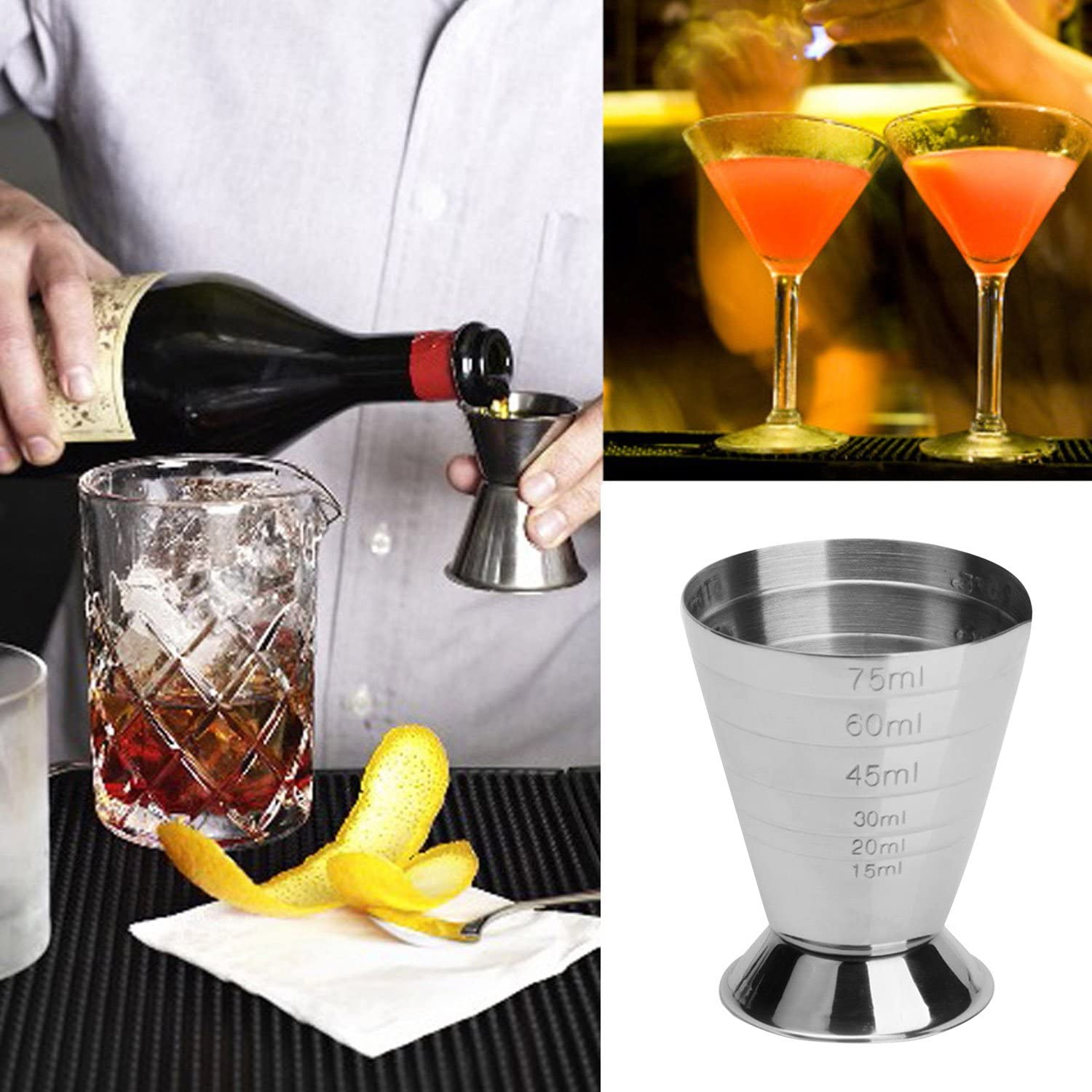 75ml Stainless Steel Cocktail Tools Bar Jigger Cup with ml oz Tbsp . Measurement Unit for Bars Home Making Mixed Drinks