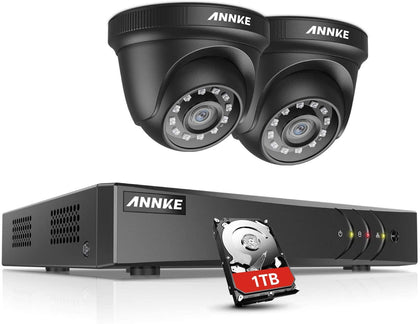 ANNKE 4CH HD TVI 1080P Lite CCTV Camera System Video DVR Kits and 2X 1080P Outdoor Weatherproof Dome Cameras with IR Night Vision LEDs, Email Alert, Remote Viewing, 1TB Hard Drive