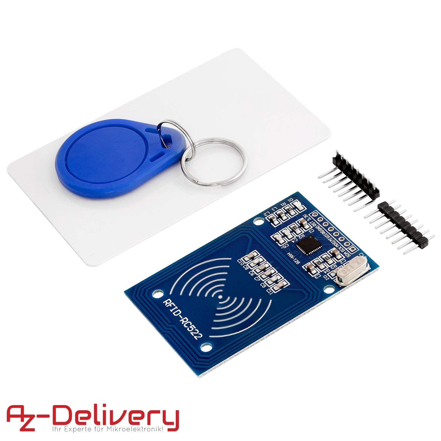 RFID Kit - MFRC522 RC522 RF IC Card Reader Sensor Module, RFID Chip Key Ring and S50 Card 13.56MHz, Compatible with Arduino Raspberry PI