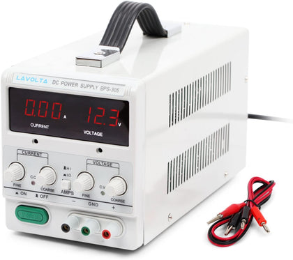 Variable DC Power Supply 0-30V 0-5A - Adjustable Bench Power Supply with Test Leads - Variable Voltage Lab Power Supply 30V 5A