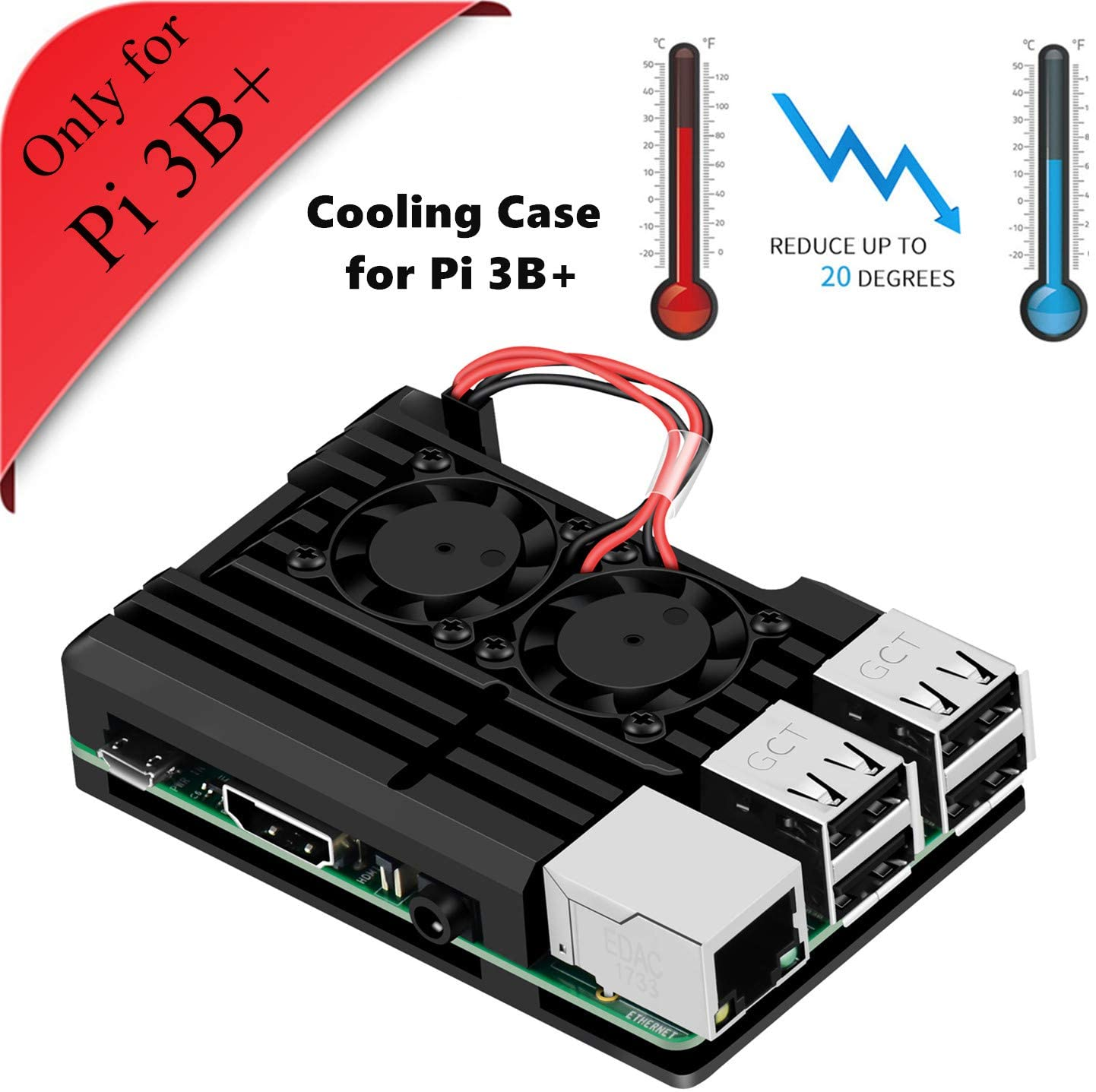 Raspberry Pi 3B+ Armor Case, Raspberry Pi Aluminum Alloy Case Cooling Fan Dual Fan, Raspberry Pi Fan Heatsink for Raspberry Pi 3 Model B+ (only Pi 3B+)