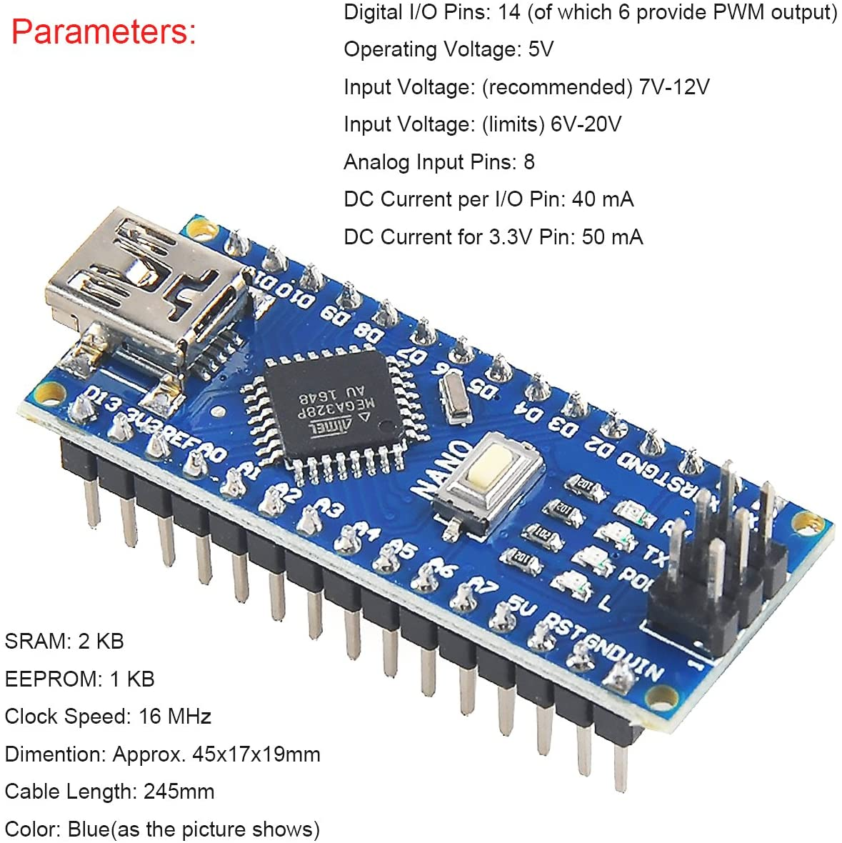 Nano V3.0 ATmega328P Microcontroller Board,Nano Board CH340G Chip 5V 16MHz with 2pcs 245 mm USB Cable for Arduino