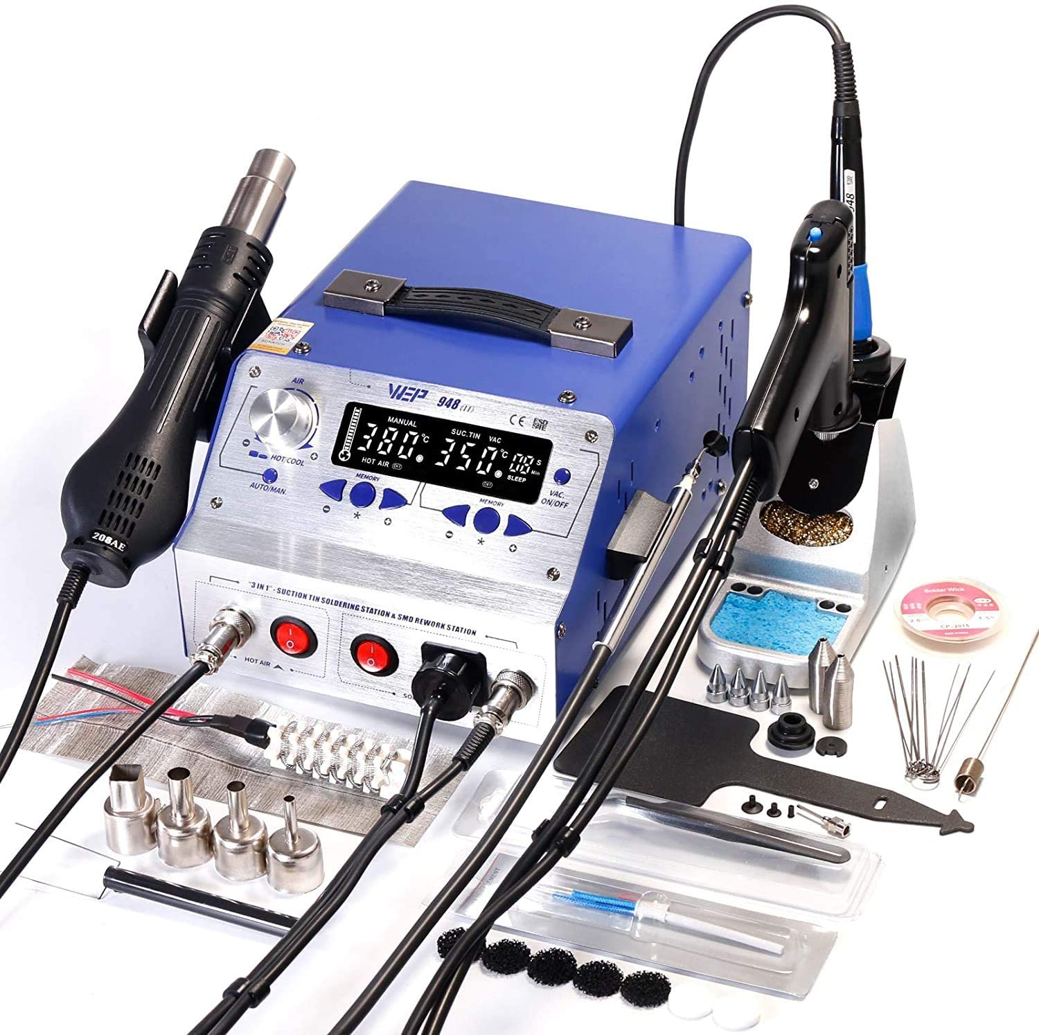 WEP-II 4 in 1 Hot Air Gun Rework & Soldering Iron Station & Desoldering Station & Vacuum Suction Pen (used like new)