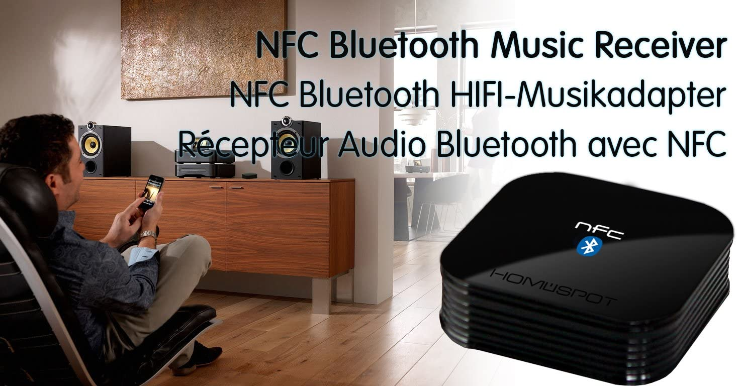 HomeSpot Bluetooth Receiver V4.2 Wireless Bluetooth Adapter with aptX Variation (NFC Version)