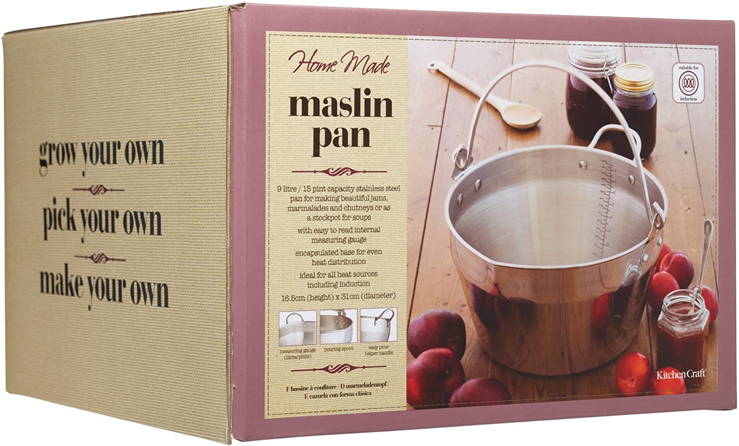 KitchenCraft Home Made Maslin/Jam Pan for Induction Hob with Recipe in Gift Box, Stainless Steel, 9 Litre
