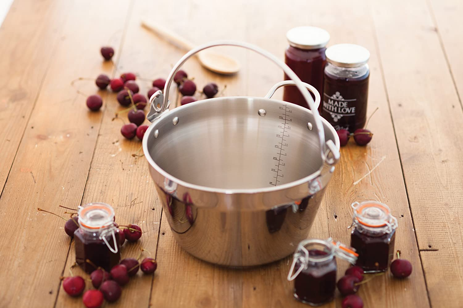 KitchenCraft Home Made Maslin/Jam Pan for Induction Hob with Recipe in Gift Box, Stainless Steel, 4.5 Litre