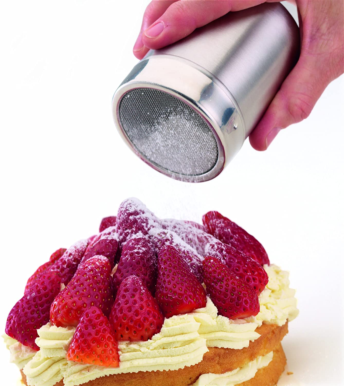 KitchenCraft Flour Sifter / Icing Sugar Shaker with Fine Mesh, Stainless Steel