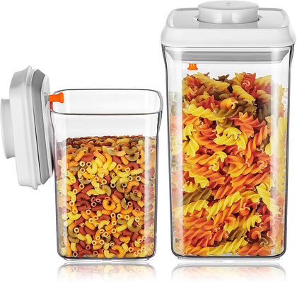 Airtight Cereal Container - BPA Free Food Storage Containers - Sweet Spaghetti Jar - Coffee Sugar Canisters - Pack of 2 - Square(AS 2L + 0.9L)