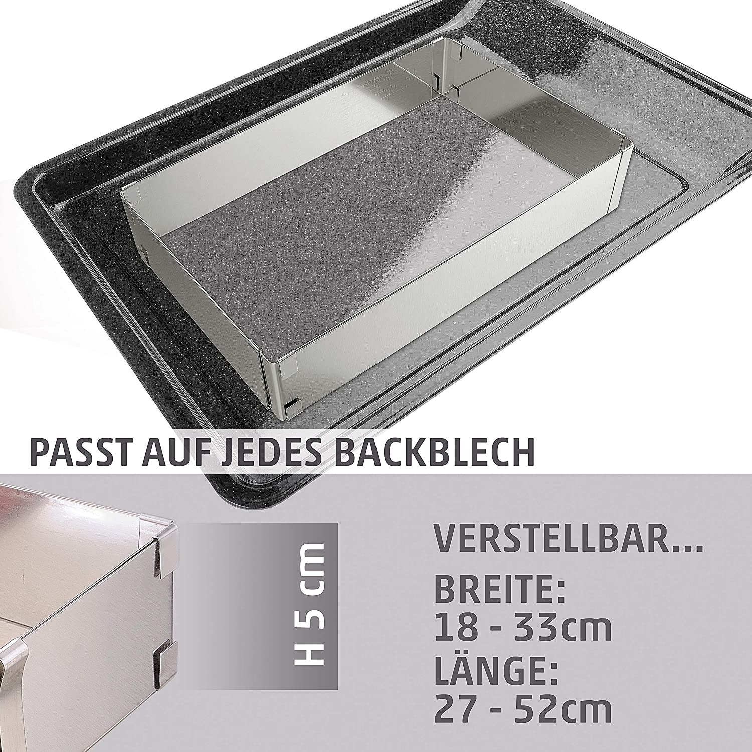 Menz Baking Tray with No / One / Two Separators / 5 cm Tall / Stainless Steel without divider