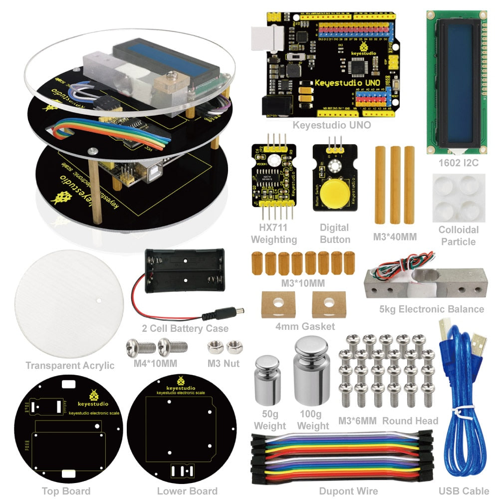 Viewtek KS0087 Arduino Kit for DYI Electronic Scale up to 5 kg With Uno R3 Board Booklet with Assembly and Schaltplänen Codes, Video and Tutorial