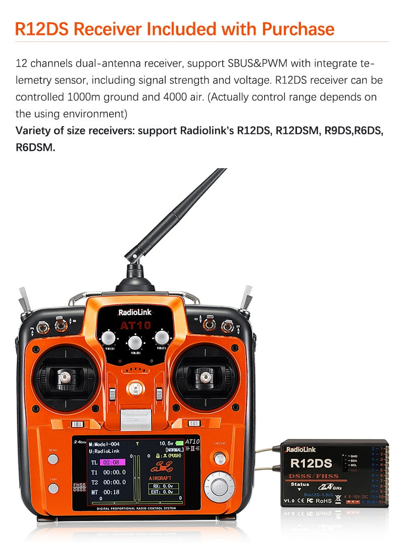 Radiolink AT10II 2.4G 12CH Transmitter Remote Control with R12DS Receiver RPM-01 Voltage Return Module for RC Drone Quadcopter(Orange)