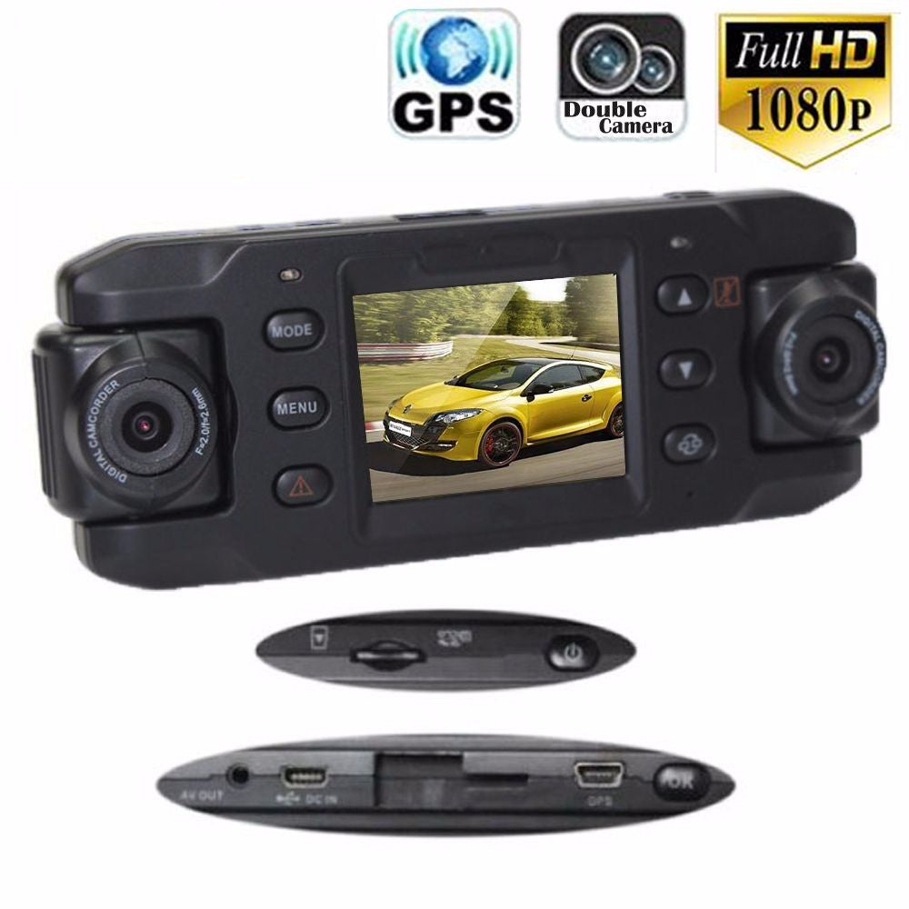 Original Dual Lens Car Camera X8000 Full HD 1080P With GPS Tracker Two Lens Vehicle Car DVR Dash Cam Recorder G-sensor CA365