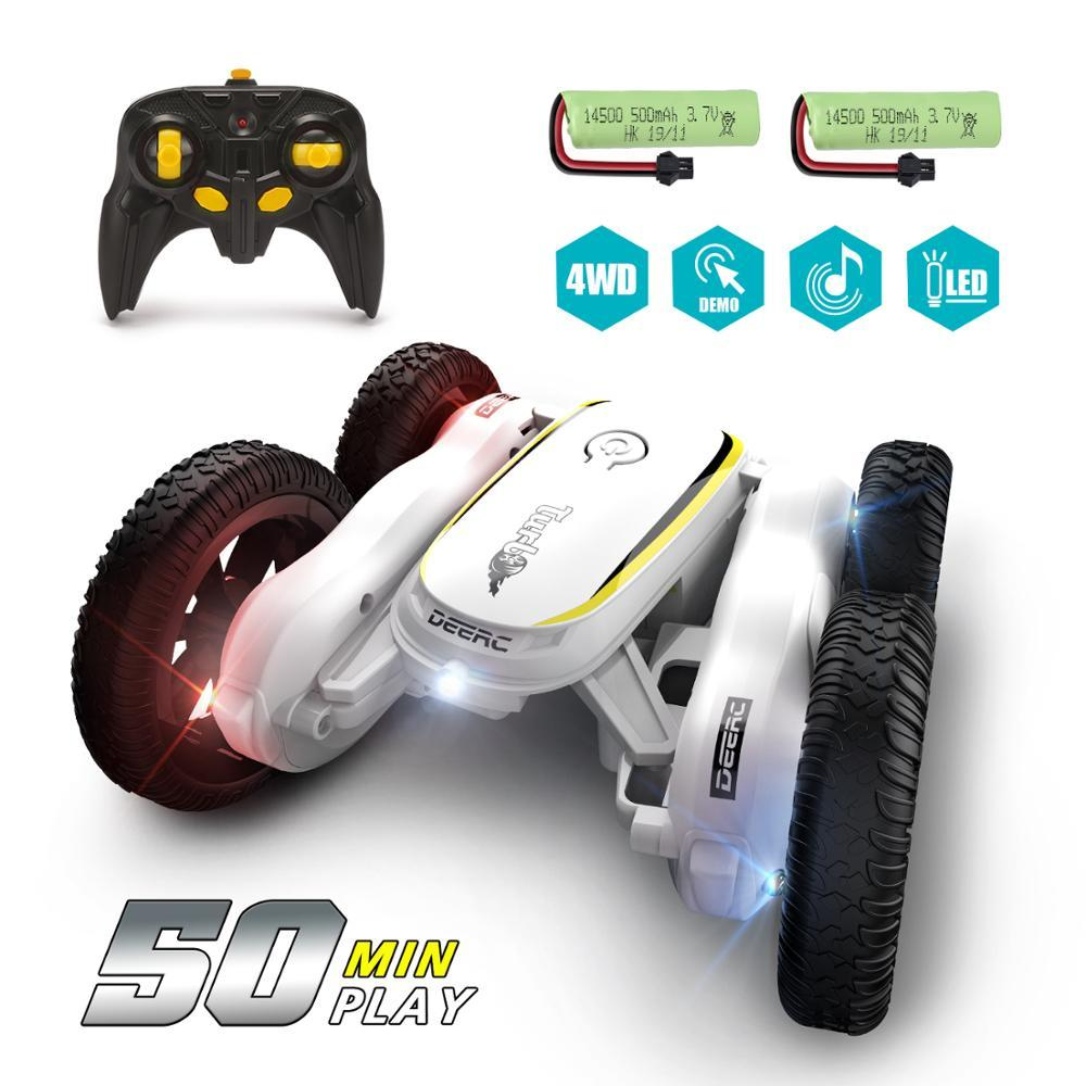 DEERC RC Car 4WD Off Road High Speed RC Crawler Stunt Car Toys For Children Drift Buggy 360° Rotating Flips