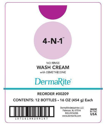 Rinse-Free Body Wash DermaRite 4-N-1 Cream 16 oz. Tube Fresh Scent (1 Each)