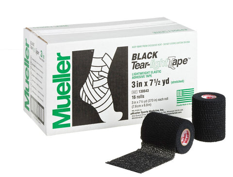 "Mueller 130643 Tear-Light Tape Black 3"" CS/16"