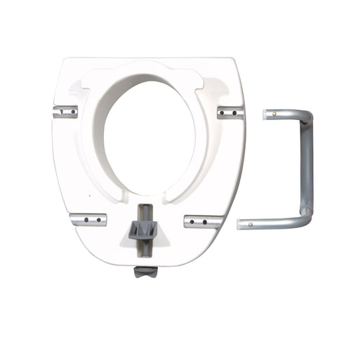 "Elongated Raised Toilet Seat with Arms Drive 4.5"" Height White (1 Each)"