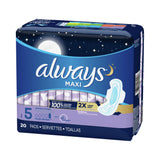 Feminine Pad Always Maxi Overnight Absorbency (Box of 20)